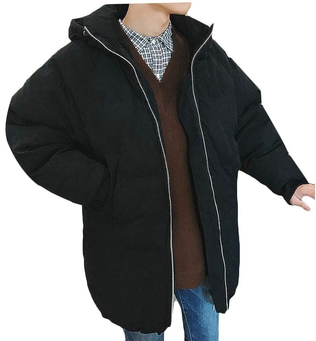 Blyent Men Hoody Warm Thicken Pocket Raglan Sleeve Quilted Midi Jacket Anoraks Parka Coat