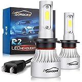 VoRock8 R2 COB H7 8000LM Led Headlight Conversion Kit,High Beam Low Beam Headlamp, Fog Light, Halogen Head Light Replacement, 6500K Xenon White, 1 Pair