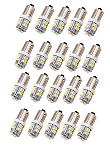 JKLcom BA9S LED Bulbs White 3528 10SMD 1445 17053 BA9S 12V LED Light Bulb for Car Interior License Plate Dome Door Map Light,Bayonet Single Contact Base,Pack of 20 ()