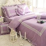 TideTex Stylish Romantic Purple Bedding Set 3-piece Lace Ruffle Bed Skirt 100% Cotton Nordic Style Home Textiles Bedding College Dorm Girl Duvet Cover Set 3pc (Twin, Purple)