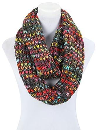 écharpe femme tube loop pour l hiver multicolore noir grosse maille ... fc951c7cde8