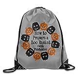 Sokie Pumpkin Boo Gym Drawstring Backpack/Travel Bag