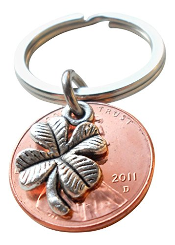 Clover Charm Layered Over 2011 Penny Keychain, 8 year Anniversary Gift, Couples Keychain
