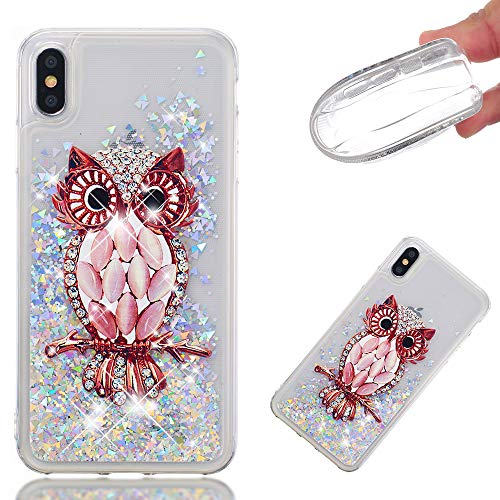 Glitter Case for iPhone X/XS,QFFUN Bling Floating Liquid Quicksand Soft Clear Slim Fit Silicone Case with Screen Protector Shockproof Transparent Protective Cover Bumper - Owl