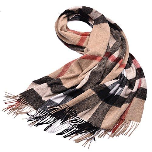 "Women's Plaid Scarves 100% Lambs Wool Scarf Blanket Winter Scarf Warm Tartan Wrap Shawl Cape -LakeMono (79""x 28"", Shallow Camel Lattice)"