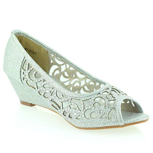 Mujer Señoras Peep Toe Diamante Bajo Tacón de Cuña Noche Fiesta Boda Ponerse Sandalias Zapatos Talla Plateado