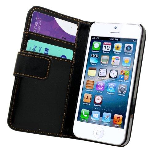 Nera Portafoglio Custodia in Pelle per Apple iPhone 5 5G - Flip Case Cover + 2 Pellicola Protettiva Schermo