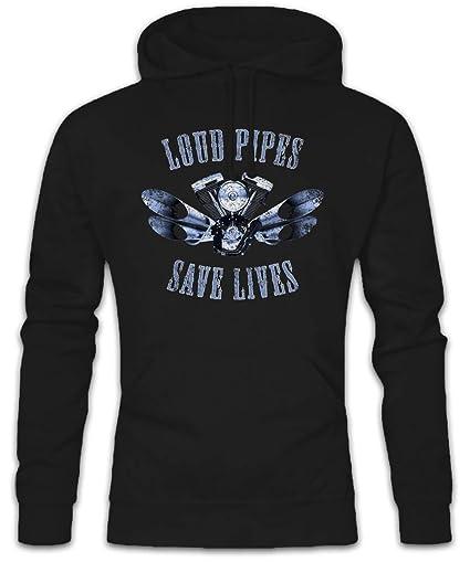 Loud Pipes Save Lives Hoodie Sudadera con Capucha Sweatshirt - Hijos Live To Ride Biker Samcro Rocker Club SOA Anarchy de la anarquía Moto Shirt Tamaños S ...
