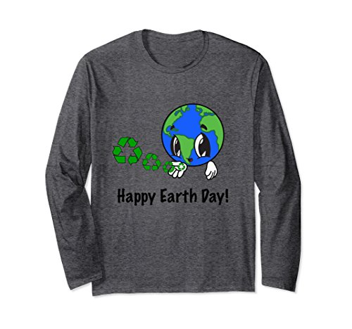 Unisex Happy Earth Day, Love Recycle Symbol Long Sleeve T-Shirt Small Dark Heather
