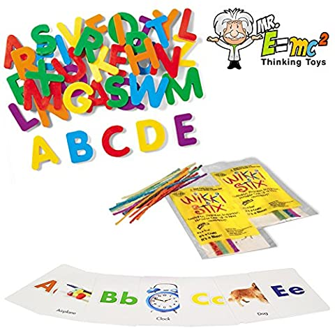 Learn to Read Tools Pack: Refrigerator ABC Magnets, ABC Flash Cards, Wikki Stix; PreK - K, 1st (Starting Montessori School)