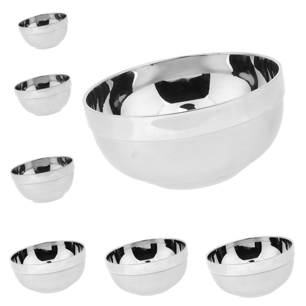 CUTICATE 7pcs/ Set Stainless Steel Cereal Soup Bowl Microwave Safe for Food Beverage by CUTICATE