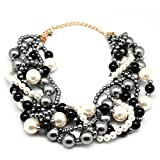 MeliMe Women's Multi-Strand Twisted Faux Pearl Chunky Bib Necklace Gray Deal (Small Image)