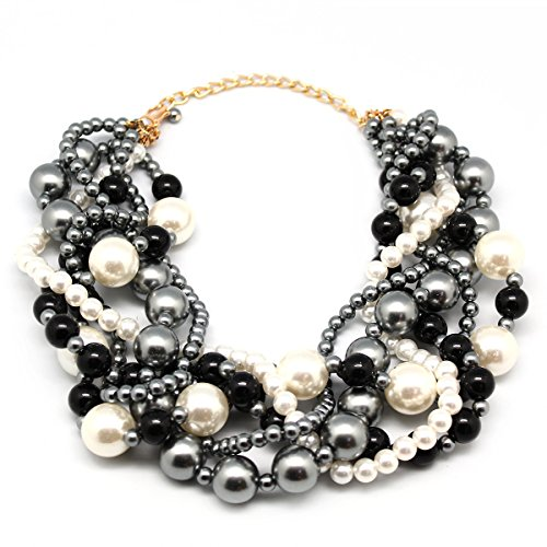 MeliMe Women's Imitation Pearl Twisty Chunky Bib Necklace Pearl Chokers for Wedding Party by MeliMe