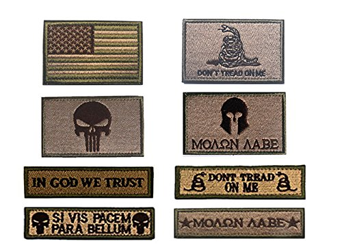Antrix 8 Pack Great Value Tawny Military Tactical Morale Patch US Flag Punisher Molon Labe Dont Trend On Me in God We Trust Patches Set