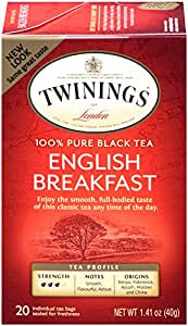 Twinings Black Tea, English Breakfast, Tea bagged 20 Count  (Pack of 6)