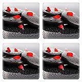 Luxlady Square Coasters Non-Slip Natural Rubber Desk Coasters IMAGE ID: 23086538 Spa Stones
