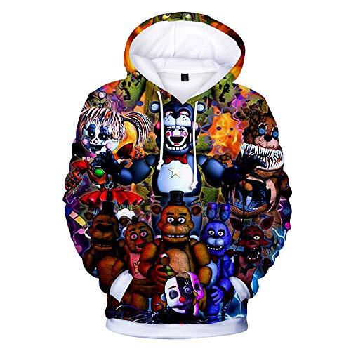 Oxking Boys and Girls 3D Digital Print Pullover Hoodies Hooded Sweatshirts Halloween Five Nights at Freddy Q1910A Kid ()