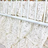 Vintage Lace 3 Tier Ruffled Waterfall Crib Skirt (Natural/ Ivory/ Off white)