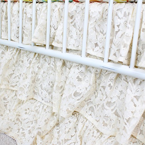(Vintage Lace 3 Tier Ruffled Waterfall Crib Skirt (Natural/Ivory/ Off white))