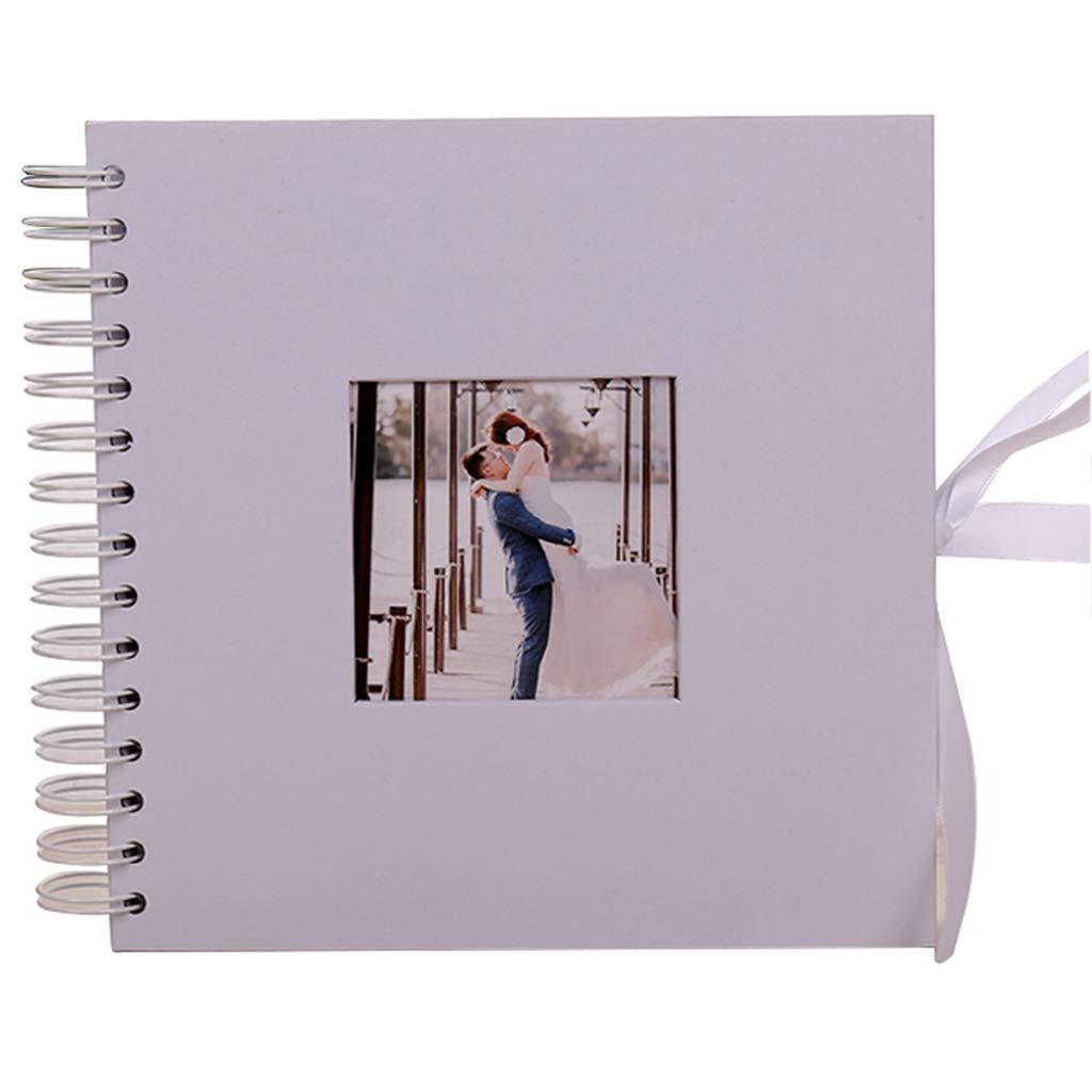 QUNA Regalos creativos DIY álbum Hecho a Blanco Mano álbum de Recortes - Blanco a Bow-Knot Memory Book para Parejas Boda Memorial Scrapbooking,8×8inch 8ce3b9