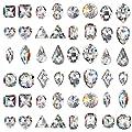 Ownsig 80Pcs Cone Back Nail Rhinestones 3D Colorful Crystal Diamonds Dems for DIY Nail Art Supplies Decoration Tool