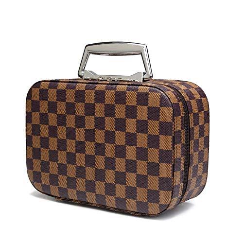 Travel Makeup Bag with Mirror Premium Vegan Designer Make Up Bag Organizer Train Case for Women PU Vegan Leather Cosmetic toiletry Travel bag (Brown) (Gucci Crystal Wallet)