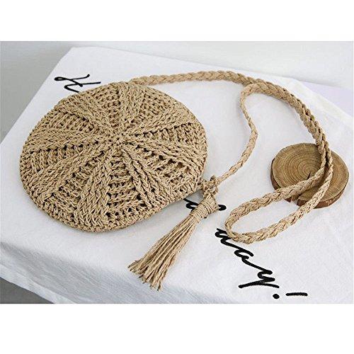 A Bag Spiaggia Paglia Boemia Beige Rotonda Brown Messenger Circle Kintted Borsetta Rattan Mano Borse Donne Weave Onemoret Femmina Crossbody Lady q5Cf7Own