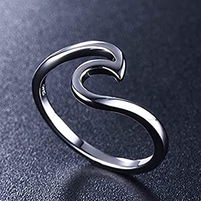 COYOTE Solid 925 Sterling Silver Wave Design Simple Plain Surfer Ocean Waves Nautical Ring Band Sizes 5-10