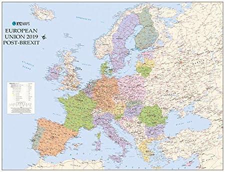 Cartina Geografica Europa Da Stampare.Europa Senza Regno Unito Secondo Brexit Circa 118x90cm Poster Cartina Geografica Amazon It Amazon It