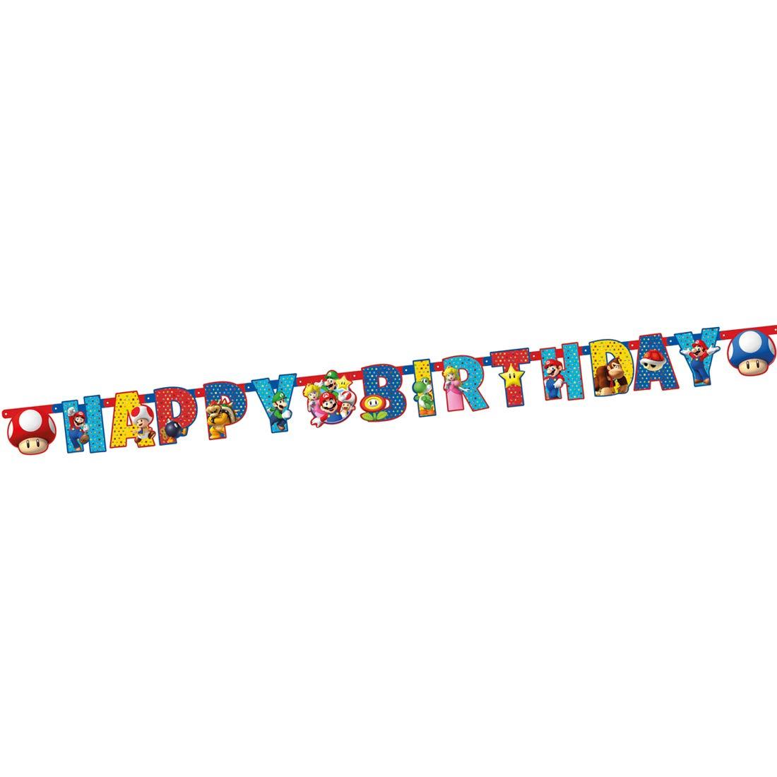 Inmejorable para Fiestas de cumplea/ños Infantiles y Fiestas Infantiles NET TOYS Guirnalda de Letras Motivo Super Mario Brothers Original Cadena de Volantes decoraci/ón Fiesta 190 x 15 cm