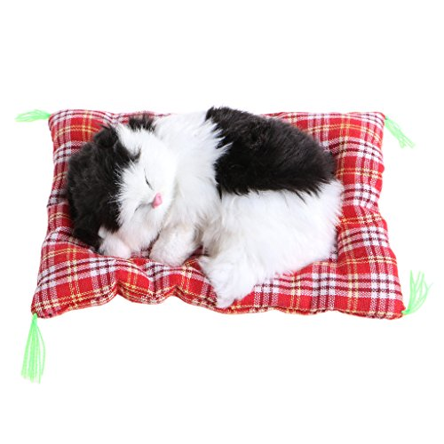 ONcemoRE Press Simulation Sound Animal Doll, Plush Stuffed Toy Cute Sleeping Cat for Kids Children - Black and White ()