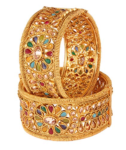 Shiv_Collection Gold Tone Indian Polki Bangle Ethnic Traditional Bollywood Fashion Jewelry (2.4)