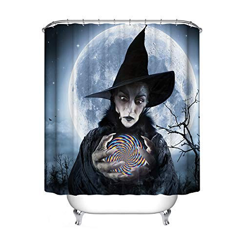 Halloween Shower Curtain, HD & 3D Printing Fabric Bath Curtain Hooks Set, Witch and Magic Illusion Trippy Crystal Ball Bathroom Shower Door Decor, Water-Proof Mold-Free 70 by 70 Inch -
