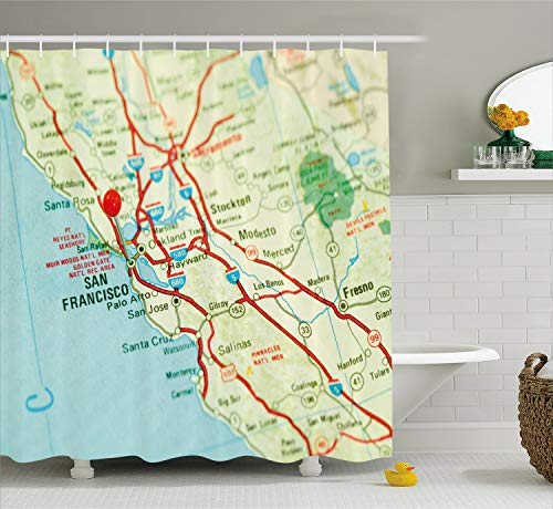 Ambesonne Map Shower Curtain, Vintage Map of San Francisco Bay Area with Red Pin City Travel Location, Cloth Fabric Bathroom Decor Set with Hooks, 70