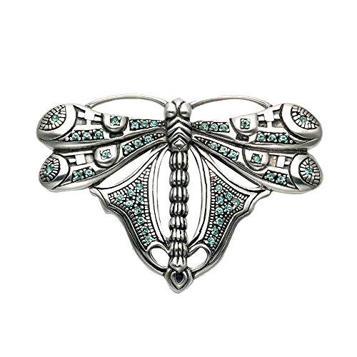 r Dragonfly Pin w/Aqua Crystal Stones ()