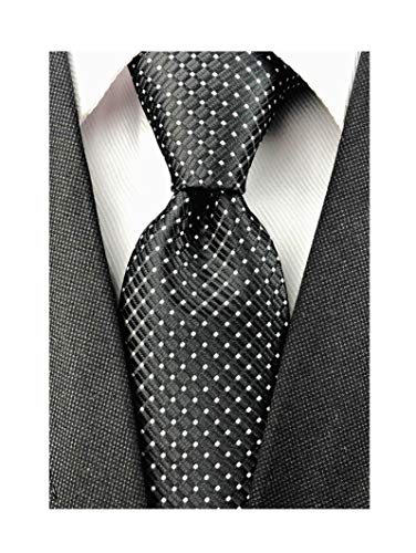 Mens Black Silk Ties Micro Checkered Wedding Party Suit Microfiber Handmade Neckties