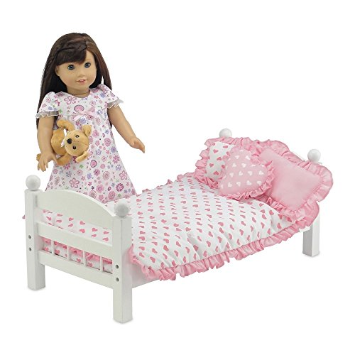 18 Inch Doll products and solutions reversible Pink Heart hard copy Ruffled Bedding Set together with Comforter 3 Pillows and sheet fit American Girl Dolls