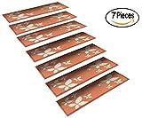 StepBasic Non-Slip Rubber Backed Slip Resistant Anti-Bacterial Stair Mat - Set of 7 - ( 8.5' x 26' ) (Flower)