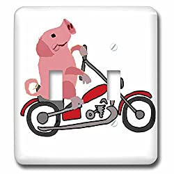 3dRose All Smiles Art Sports and Hobbies - Funny Cute Pink Pig or Hog Riding Motorcycle Cartoon - Light Switch Covers - double toggle switch (lsp_256482_2)