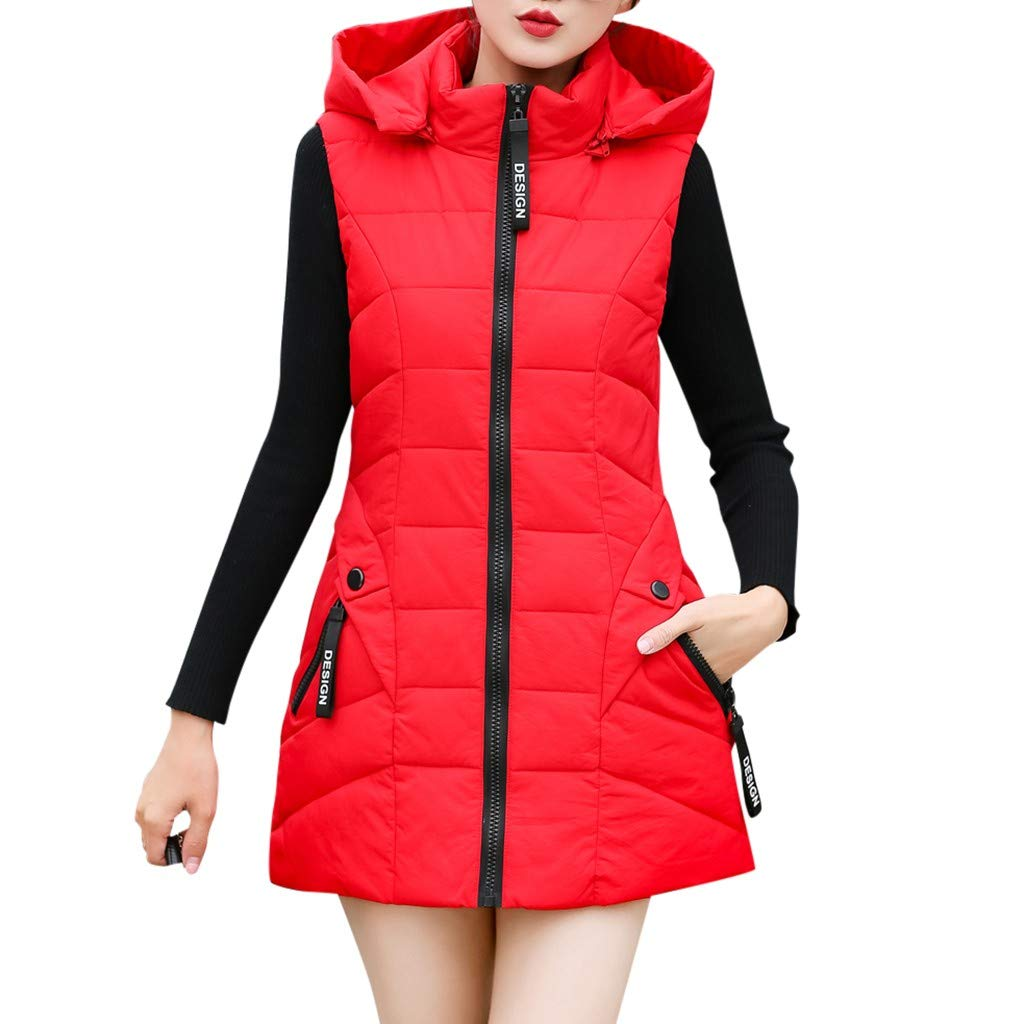 Gergeos Women's Long Puffer Vest Plus Size Lightweight Sleeveless Winter Hooded Outerwear with Pockets(Red,L) by Gergeos
