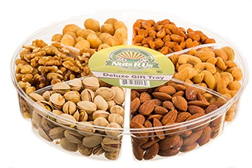 Gourmet Freshly Roasted 6 Section Large Nut Tray Holiday Anniversary Birthday Nut Gift Basket Party Decorative Nut Platter