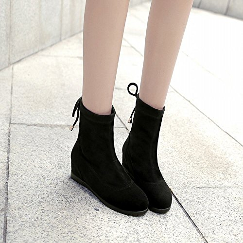 Color Carolbar Black Heighten Boots Women's Concise Inside Solid Bow Short qfwSfEOn