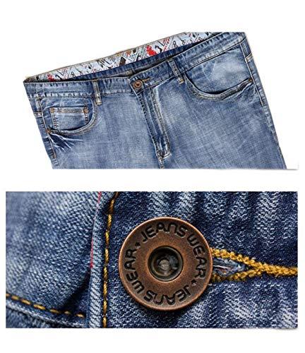 Ufige Moda Vita Pantaloni Slim T Jeans Casual shirt Larghi Alta Vintage Fit Blu Uomo Harem q5TUx1n