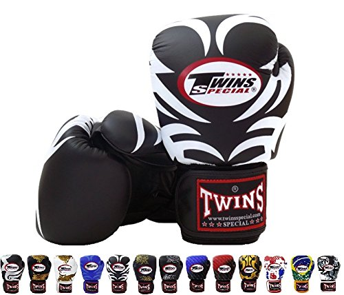 Twins Special Boxing Gloves FBGV9 -Tattoo Black, For Muay Thai, Kick Boxing, MMA (16 - Black Boxing Gloves Twins