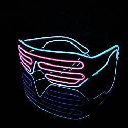 PINGGE US - Black Frame Colorful El Wire Neon LED Light Up Shutter Shaped Glasses for Rave Costume Party - Two Colors+ Standard Controller (Pink + Light Blue)