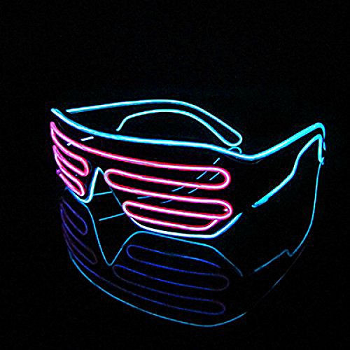 PINGGE US - Black Frame Colorful El Wire Neon LED Light Up Shutter Shaped Glasses for Rave Costume Party - Two Colors+ Standard Controller (Pink + Light - Curved Sunglasses Prescription