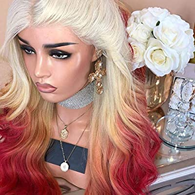 ❤️ Sunbona Curly Wigs for White Women Long Curly Straight Wavy Synthetic Full Hair Wig Pink Purple Cosplay Natural (Red): Clothing