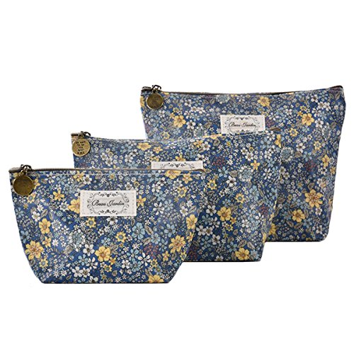 Micom Cute Floral Waterproof Travel Toiletry Cosmetic Bags Set for Women,girls (Blue) (Cosmetic Bag Set Of 3)