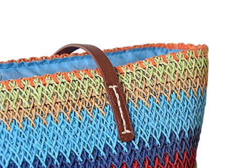With Bags Flada Bags Zipper Straw Colored Shoulder Brown Woven Beach Summer Closed Women Tote Blue nYpYvAaT