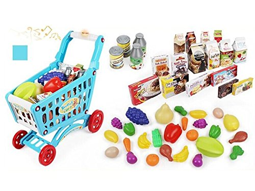AMPERSAND SHOPS Musical Toy Shopping Cart with Goodies (Blue) by AMPERSAND SHOPS (Image #3)